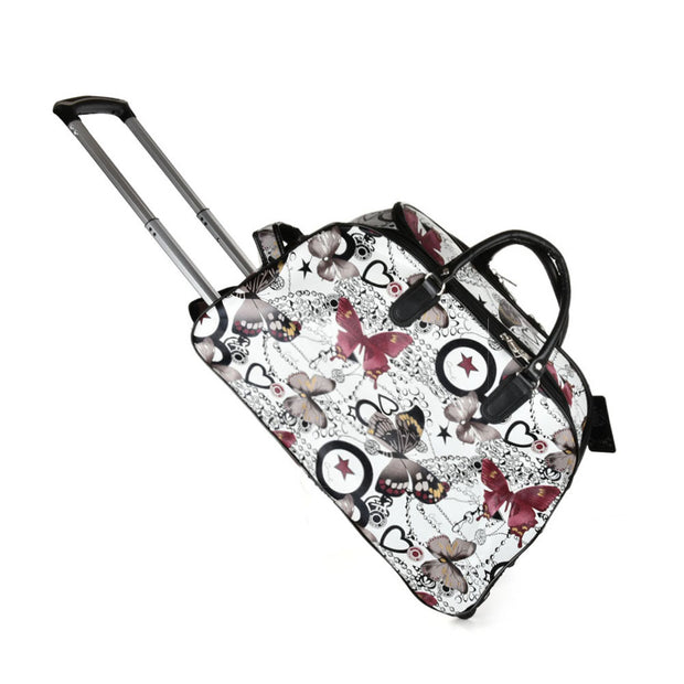 LG002-1 G - Small Size Butterfly Printing Luggage Trolley Duffle Bag