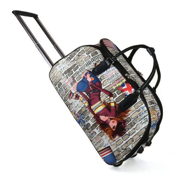 LG003 A -  Big Size the Girl Pattern Trolley Duffle Bag