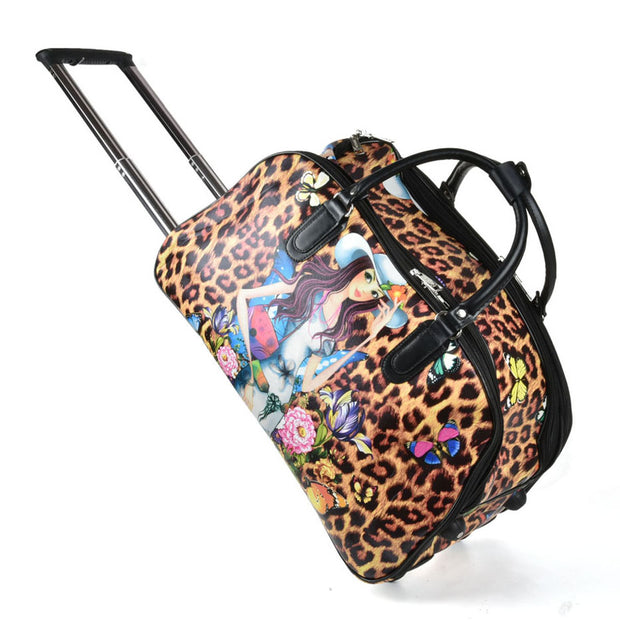 LG005 C -  Big Size The Leopard Pattern Trolley Duffle Bag
