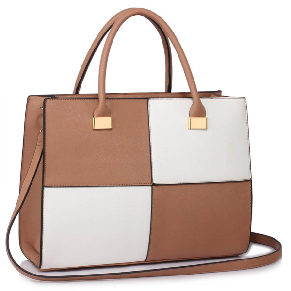 LS00153XL - Large Nude /White Fashion Tote Handbag