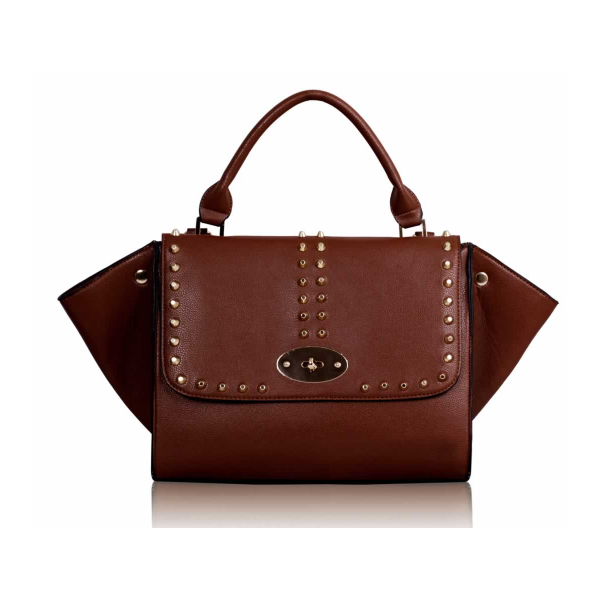 LS00178 - Studded Burgundy  Flap Satchel