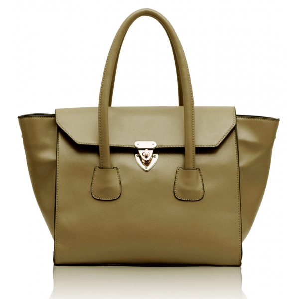 LS00183 - Nude Twist Lock Shoulder Handbag