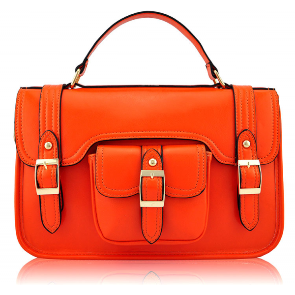 LS001A - Orange Classic Buckle Satchel With Long Strap