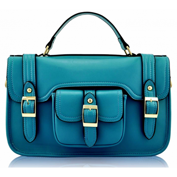 LS001A - Teal Classic Buckle Satchel With Long Strap