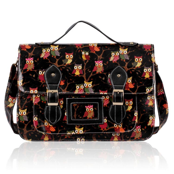 LS00226D - Black Owl Design Satchel