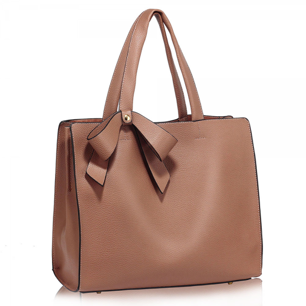 LS00236 - Nude Bow-Tie Shoulder Tote Bag