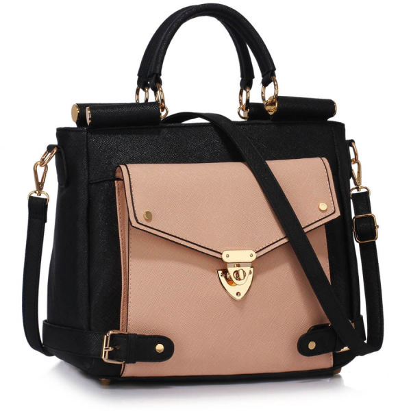 LS00237A - Black / Nude Twist Lock Flap Grab Tote