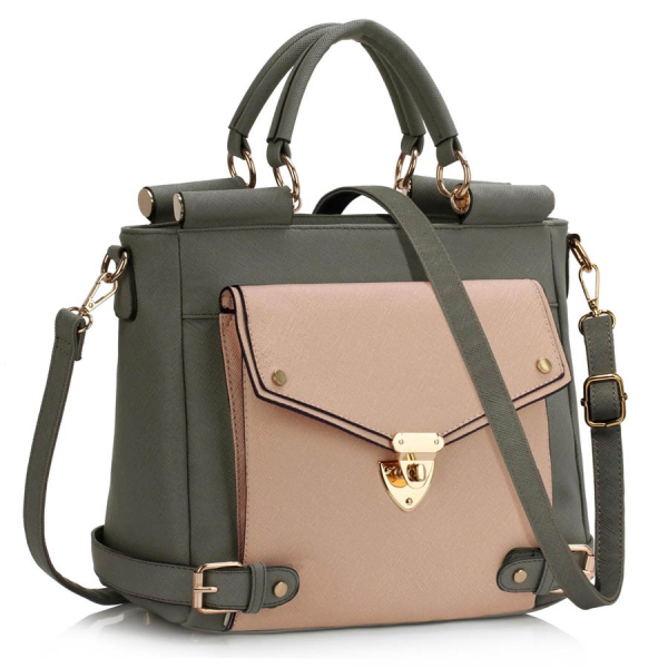 LS00237A - Grey / Nude Twist Lock Flap Grab Tote