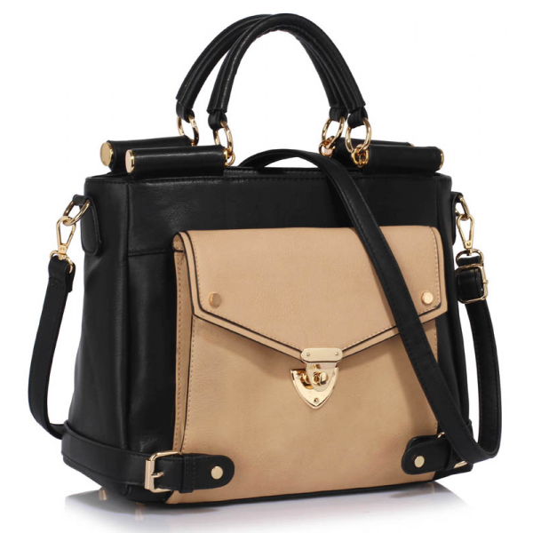 LS00237B - Black / Nude Twist Lock Flap Grab Tote