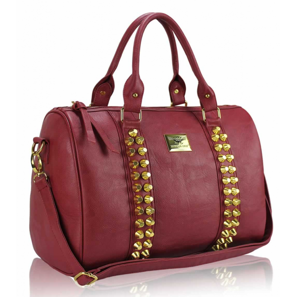LS00240 - L.S Fashion Red Stunning  Studded Barrel Bag With Long Strap