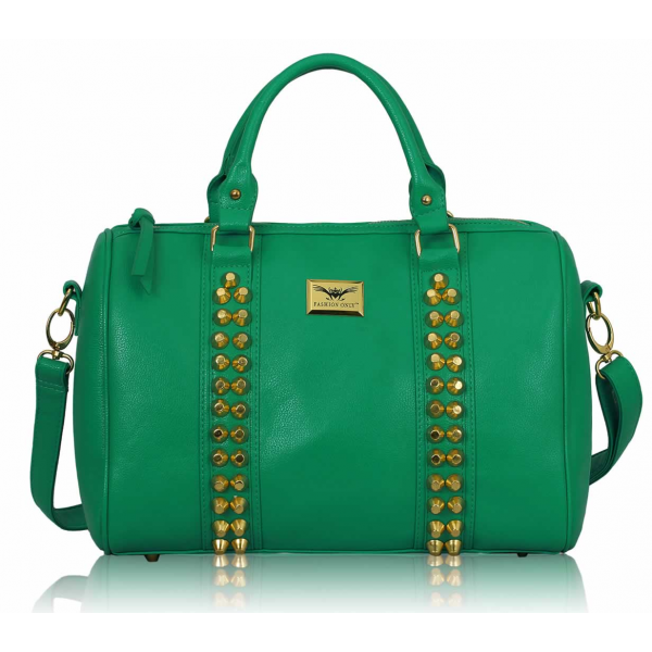 LS00240 - Fashion Emerald Stunning  Studded Barrel Bag With Long Strap