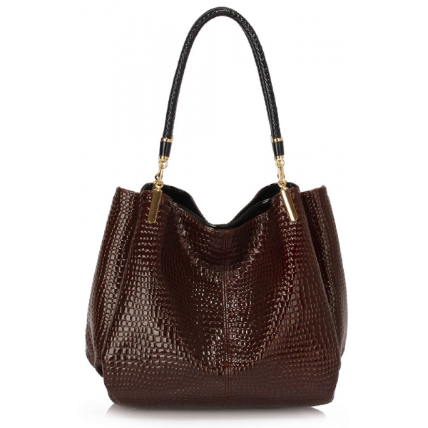 LS00243 - Coffee Snake - Effect Shoulder Bag