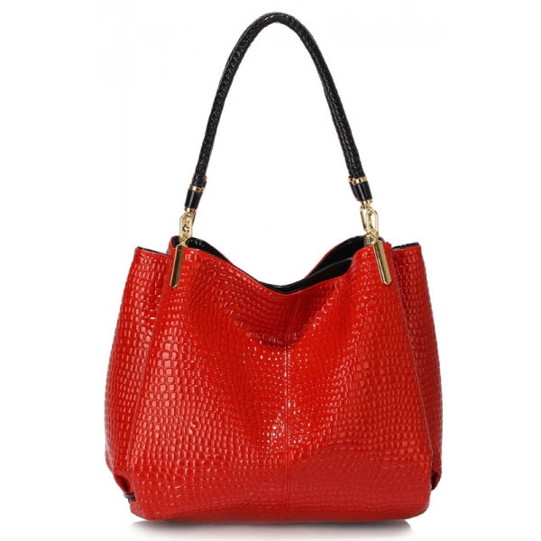 LS00243 - Red Snake- Effect Shoulder Bag