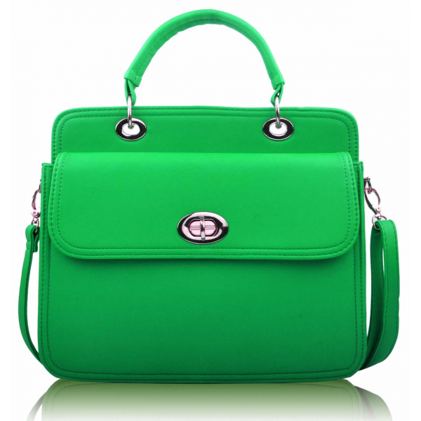 LS0024 - Green Tote With Large Twist Lock Front Pocket