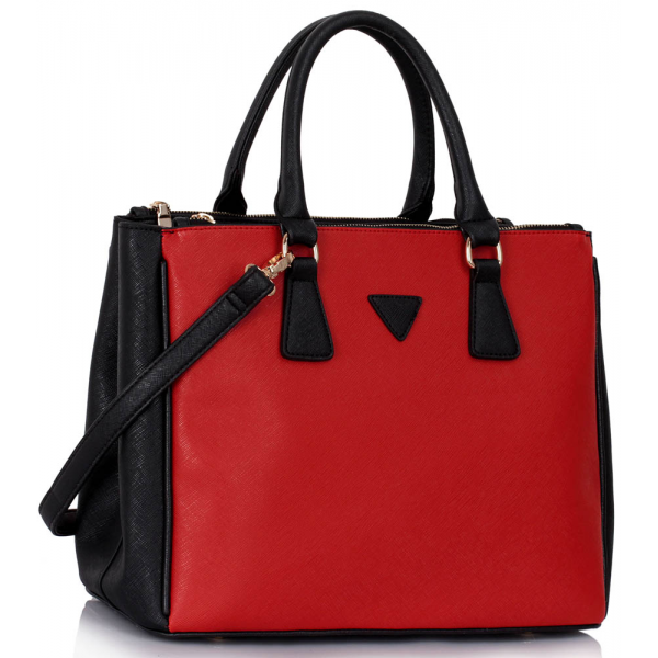 LS00260  - Black /Red Grab Tote Handbag