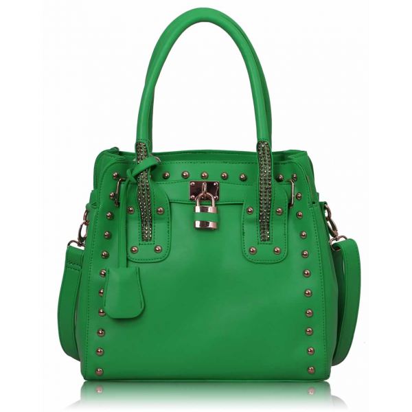 LS00262- Green Studded Tote Bag With Padlock
