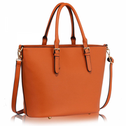 Women Brown Quality Large PU Shoulder Handbag
