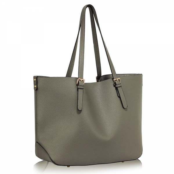 LS00265 - Grey Shoulder Bag With Removable Pouch