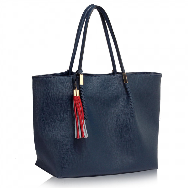 LS00271 - Navy Tassel Charm Shoulder Bag
