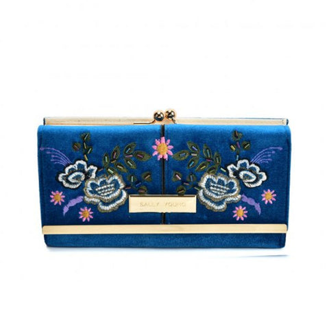 Blue Fashionable retro style wallet with flower print design and gold detailing, compact clutch with press stud closure