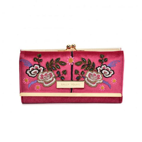 Red Fashionable retro style wallet with flower print design and gold detailing, compact clutch with press stud closure