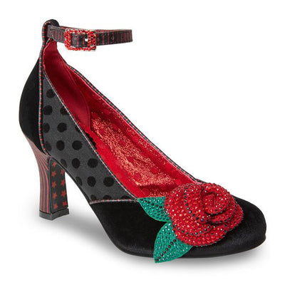 Women Senorita Crystal Rose Ankle Strap Round Toe Velvet Shoe With Leaves Pattern and Block Heels For Party and Wedding Occasions