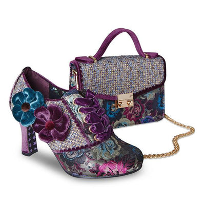Beautiful and Stylish Vintage Shoe in a Rich Floral Brocade Comes With Matching Bag is Suitable for any Party, Cocktail, Reception, Wedding, or Occasion