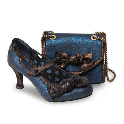 Elegant Women's Shoes in Cracked Blue Metallic Bar With Matching Bag is a Perfect Hit For Any Party, Wedding, Cocktail or Occasion