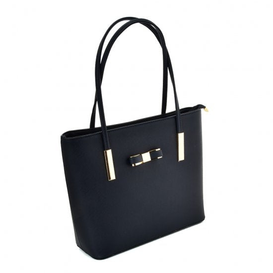 Navy Blue Ladies Fashion PU Leather Shoulder Bags come with adjustable shoulder straps, zip-top closure and a beautiful bow with metal lining