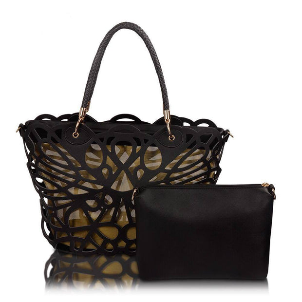 Women Designer Look Quality Faux Leather Totes HandBag with a free Removable Pouch