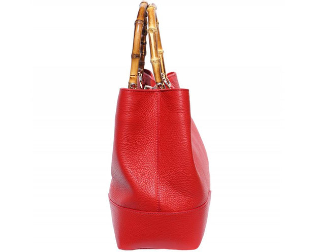 Women Ladies Quality Smooth Leather Wooden Handle Shoulder Handbag Red