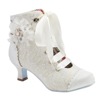 Women Vintage Ivory Satin Wedding Occasion Bridal Party Boot and Shoe