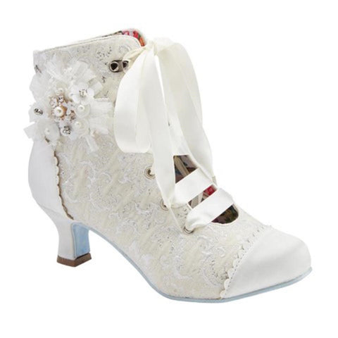 Women Vintage Ivory Satin Wedding Occasion Bridal Party Boot Shoe