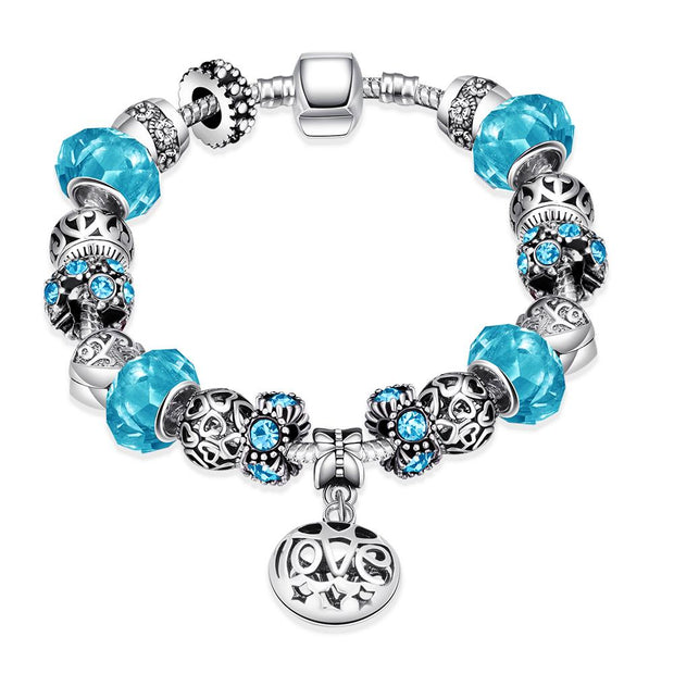 H006-A 2015 Fashion Bracelet With Blue Murano Charm Beads Fit Charm Bracelet
