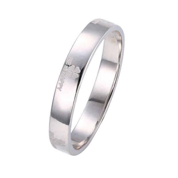 LKNQHS925R007 Simple classic ring white copper plated platinum ring