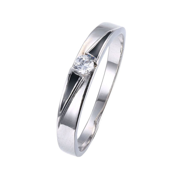 LKNQHS925R043 Simple classic ring white copper plated platinum ring