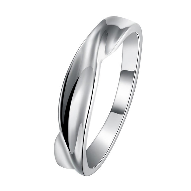 LKNQHS925R052  Simple classic ring white copper plated platinum ring