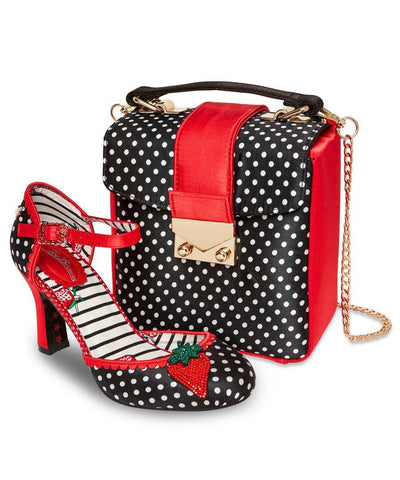 Joe Brown Heeled Polka Dot red/Black Polka Dot Sandal Shoe and Bag Set