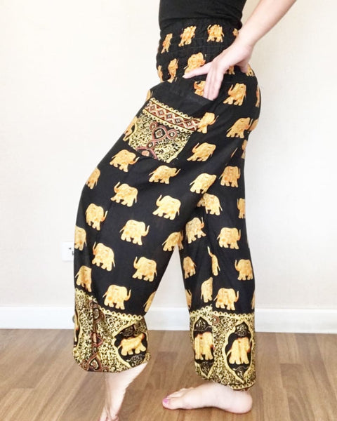 Big Elephant Pants Black Yoga Harem Long Trousers - Yoga Pants