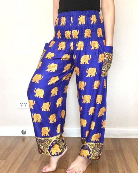 Big Elephant Patterns Blue Yoga Harem Cargo Pants Women - Yoga Pants
