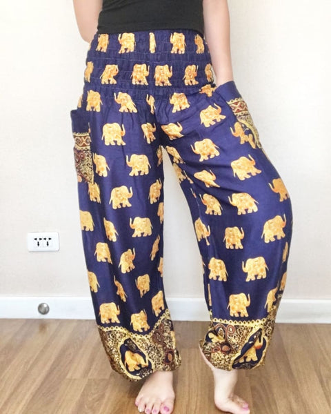 Big Elephant Patterns Navy Casual Long Pants For Women - Yoga Pants