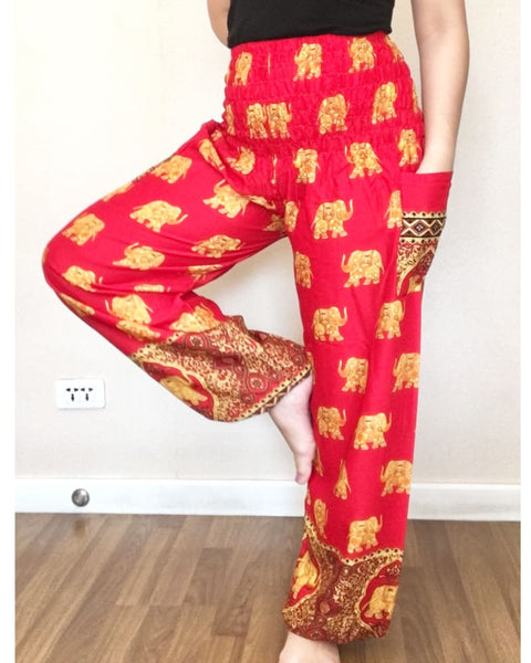 Big Elephant Patterns Red Yoga Balloon Pants Women Smock - Yoga Pants