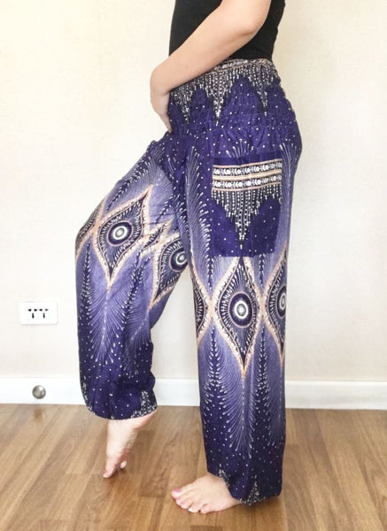 Blue Peacock Hippie Casual Yoga Harem Pants Smock - Yoga Pants