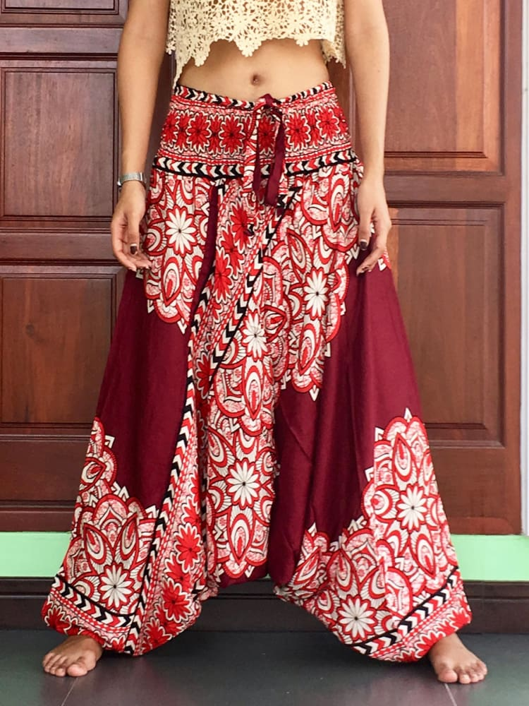 Burgundy Florals Harem Pants For Women - Harem Pants