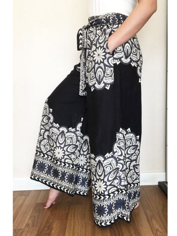 Bohemian Pants For Women Black Palazzo Trousers - Wide Legs Pants