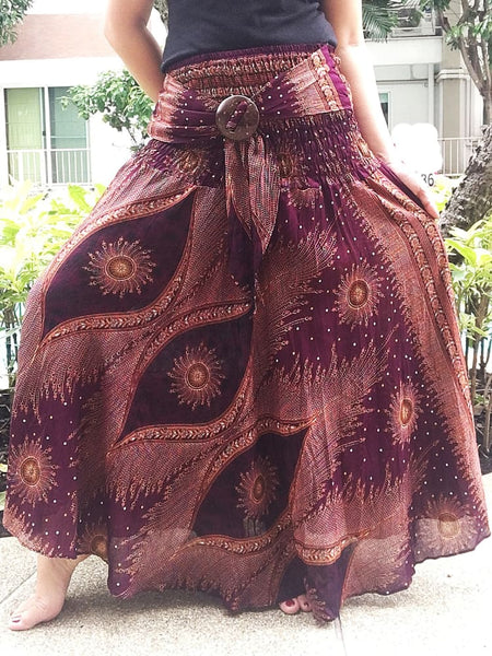 Brown Boho Maxi Skirt Dress Beach Party Plus Online - Boho Skirts