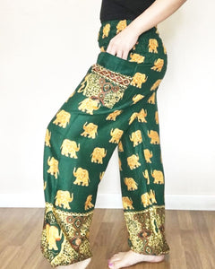 Bug Elephant Patterns Green Casual Yoga Harem Pants Women - Yoga Pants