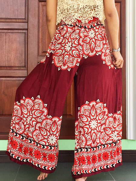 Burgundy Palazzo Trousers Women Pantalone Femme - Wide Legs Pants