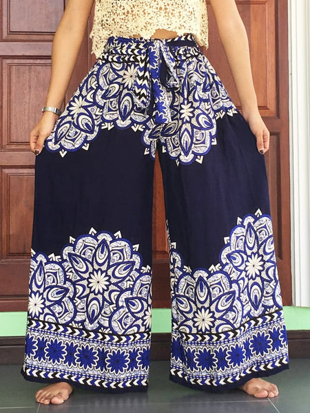 Navy Wide Legs Pants Palazzo Women - Wide Legs Pants