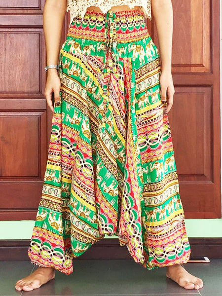 Green Aladdin Balloon Baggy Pants For Women - Harem Pants